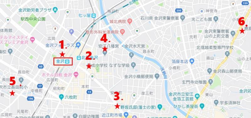 金沢のスーパーマーケット地図