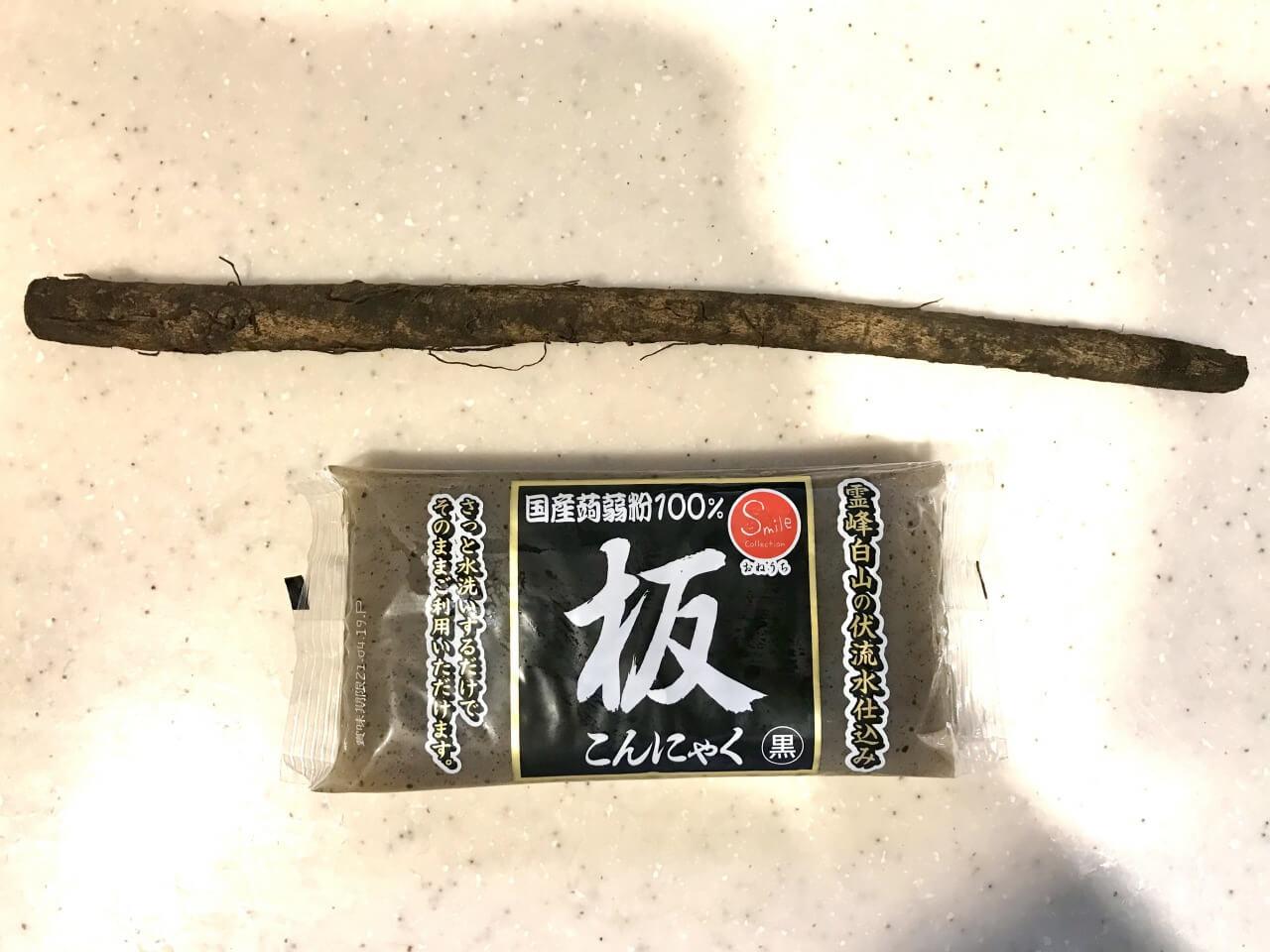 ごぼうとこんにゃくの味噌煮の材料